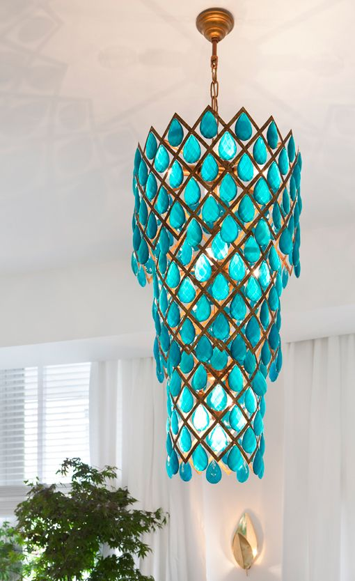 Turquoise waterfall chandelier for luxury interior projects.