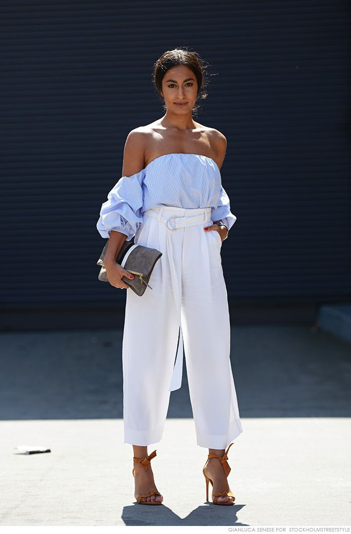 off the shoulder & loose trousers