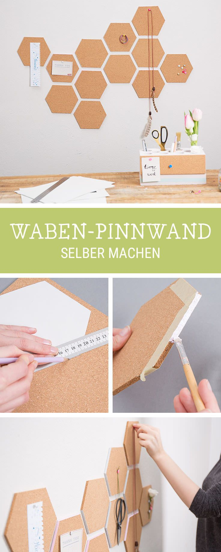 Pinnwand aus Kork in Wabenform basteln: DIY-Idee fürs Arbeitszimmer  / workspace decoration: cork pinboard in shape of honeycombs via DaWanda.com