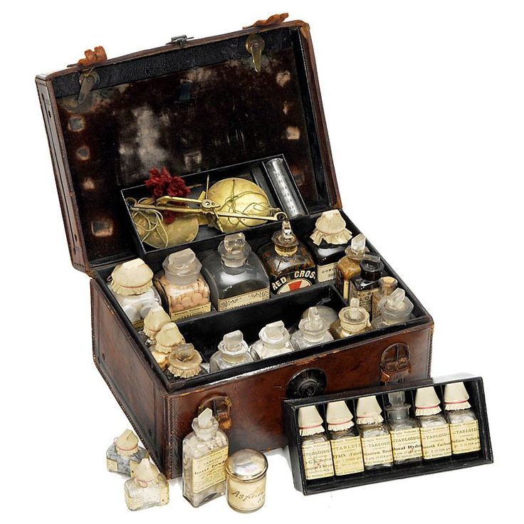 "English Traveling Medicine Chest, c. 1870 Manufactured by ""Savory & Moore, London"", leather-covered case, velvet-covered inner lid, 2 de..."