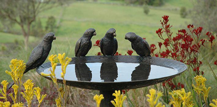 Willie Wildlife Sculptures Lorikeet Bronze Birdbath