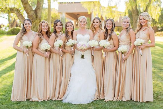 Customized Infinity Dresses   Sewn to any bridesmaids size and length - they also have a big selection of materials and lots of colors