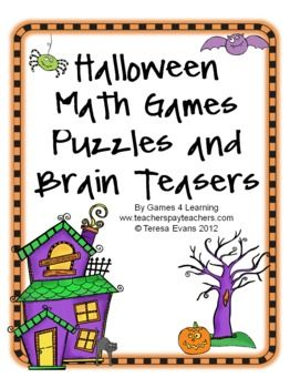 Boo! This Halloween Math collection from Games 4 Learning is loaded with spooky math fun.     It includes printable Halloween math board games, printable Halloween math puzzle sheets and Halloween math brain teaser cards. $