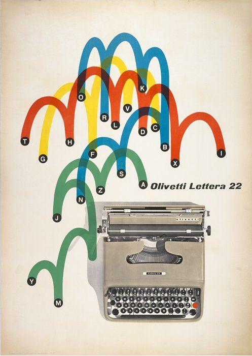 1962 Olivetti Lettera 22 poster by Giovanni Pintori