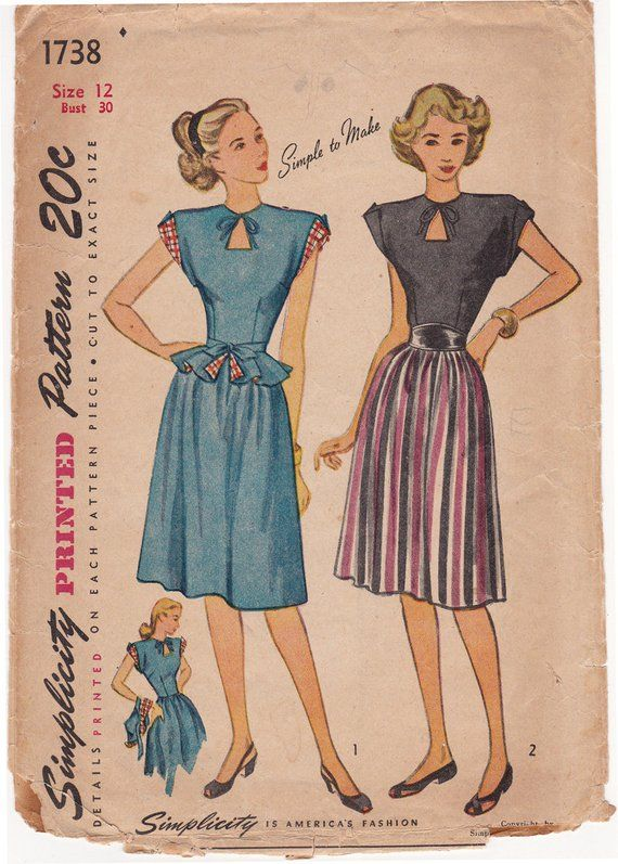 1940s Simplicity 1738 Misses Keyhole Dress With Detachable Etsy Vintage Sewing One Piece Dress Sewing Pattern Sizes