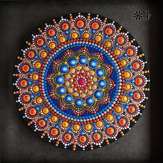 Mandala Dot Art, Home Boho Decor, Acrylic Paint On Round