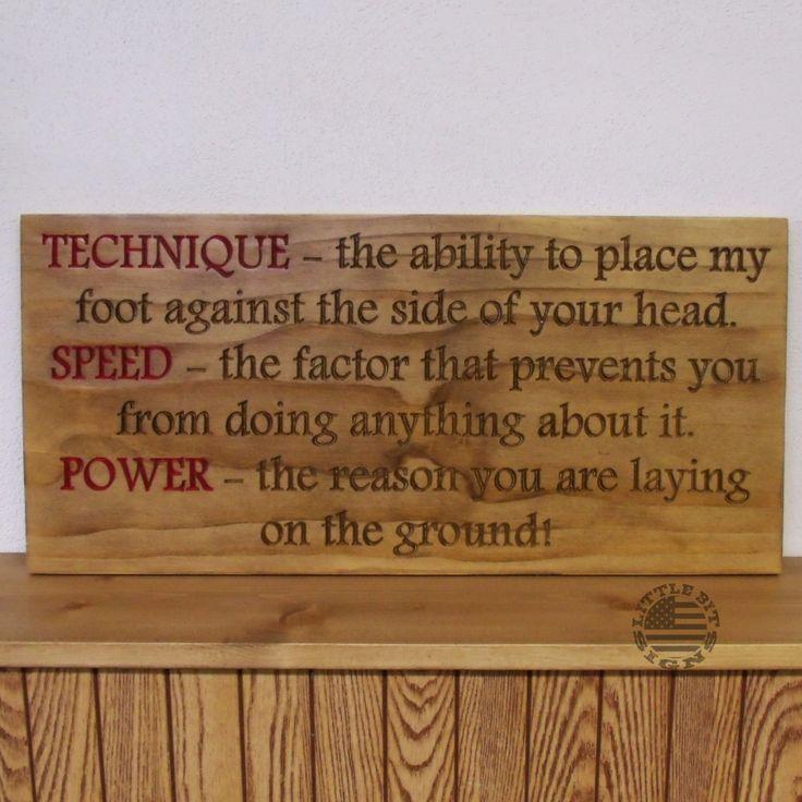 Technique Speed Power - Taekwondo Phrase, Routed Wood Sign, SKU-1400