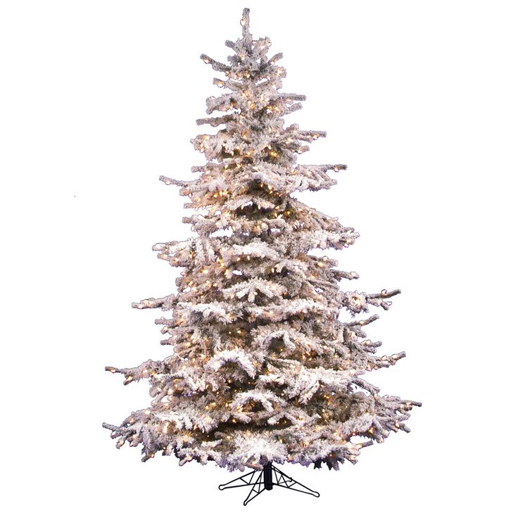 Flocked Sierra Fir 6 5 White Artificial Christmas Tree With 550 Clear Lights With S Flocked Christmas Trees Christmas Tree Clear Lights
