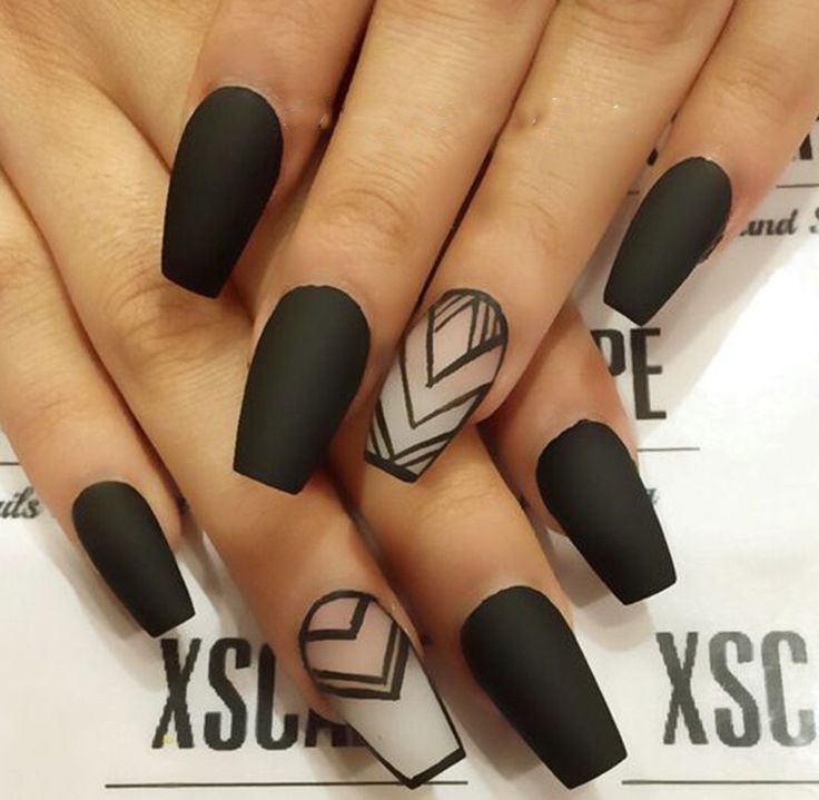 70+ Matte Black Coffin Nail Concepts Pattern in Cool 2019