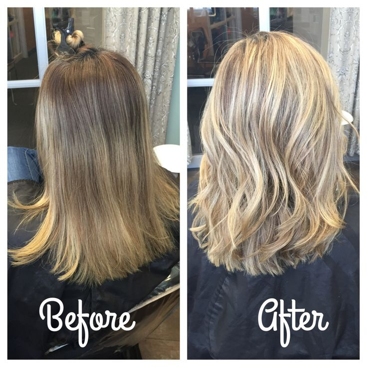 Blonde highlights hair before and after