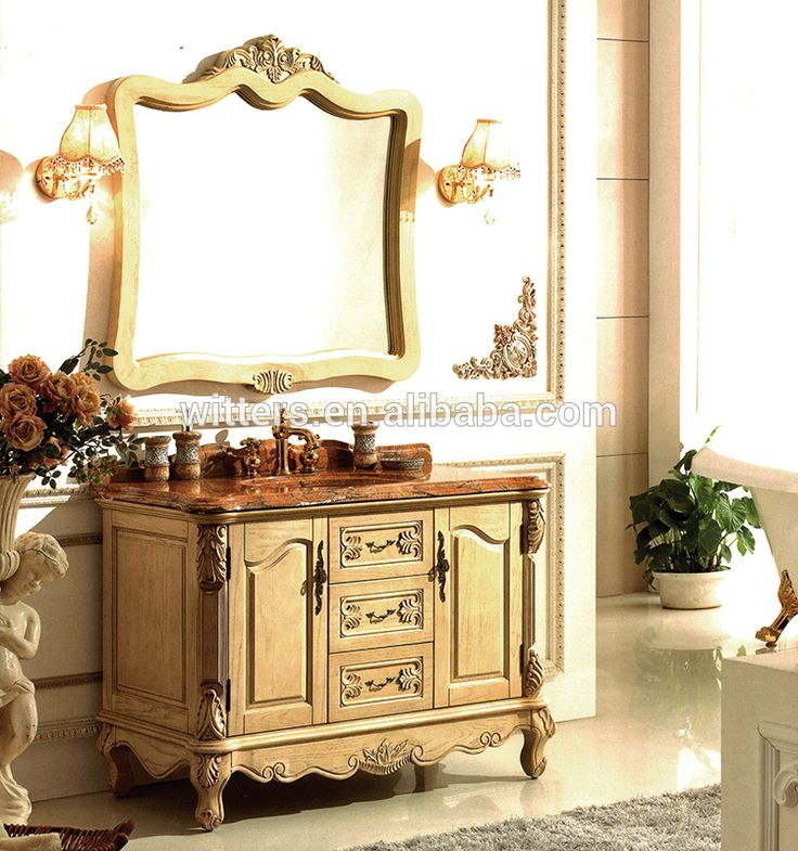 Haut de Gamme Italien Classique Salle De Bains Cabinet en Jaune, Élégant En Bois Sculpté Salle De Bains Vanité Unité WTS253
