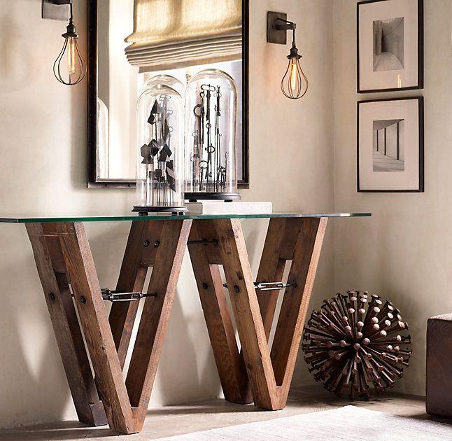 RHu0027s Reclaimed Wood U0026 Glass V Form Console Table:Los Angeles Lawyer Turned