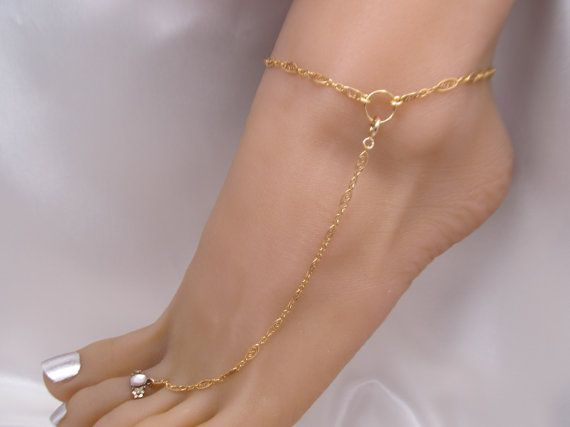 Special Gold Filled Shoeless Sandal Anklet with Toe Ring by FayWestDesigns