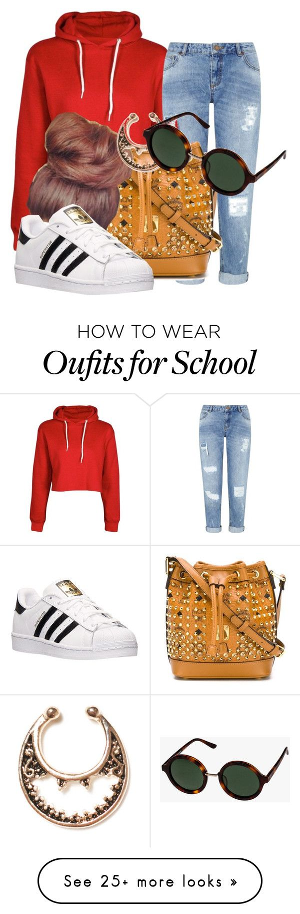 """""""school"""" by xxxpolypiexxx on Polyvore featuring Miss Selfridge, MCM, adidas and sass & bide"""