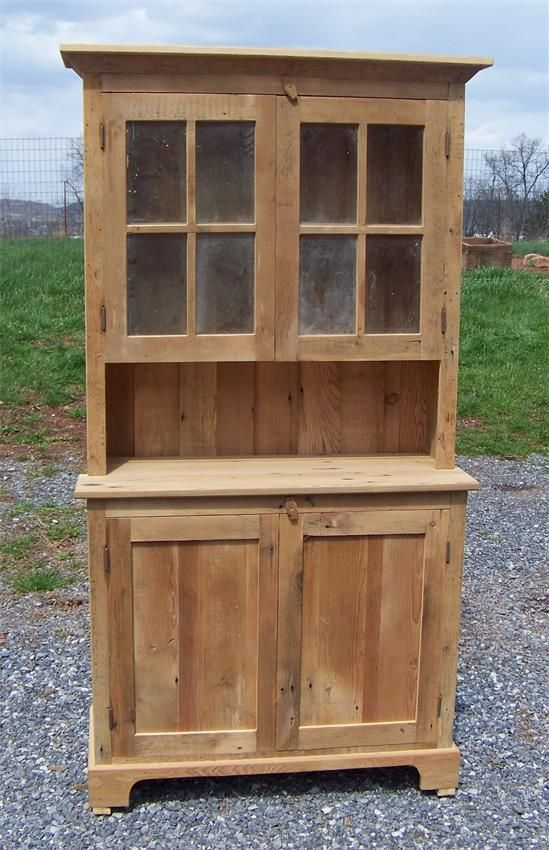 Amish Barnwood Farmhouse Stepback Hutch With Glass Doors