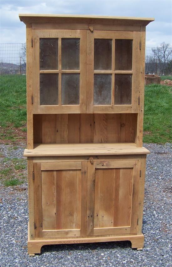 Amish Barnwood Farmhouse Stepback Hutch with Glass Doors