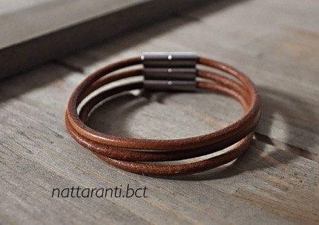 LEATHER camel bracelet set of 3 handmade embroidery with magnetic end tan by nattaranti on Etsy