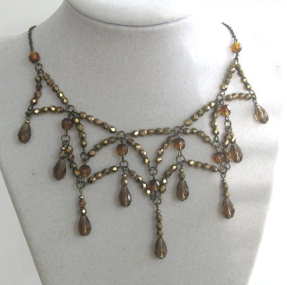 SALE - Crystal Web in BRONZE/AMBER - Exclusive Signature Necklace/Circlet in new and vintage crystal Signed by Jeanie Schelgel. $38.00, via Etsy.