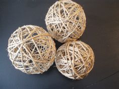 How to make twine balls - great for bowl fillers:Needed:   ~Balloons   ~Ball of Twine or Jute or String   ~White Glue mixed with equal parts Water   ~A bowl or plate to hold the Glue