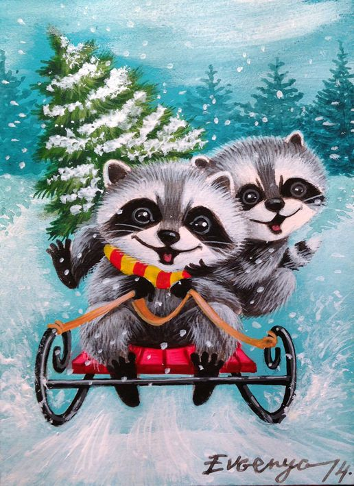 AUCTION !!! ACEO ORIGINAL PAINTING RACCOON CHRISTMAS TREE    by Evgenya #Miniature