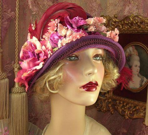 1920'S VINTAGE STYLE PURPLE, PINK & MAROON VELVET FLOWER CLOCHE FLAPPER HAT