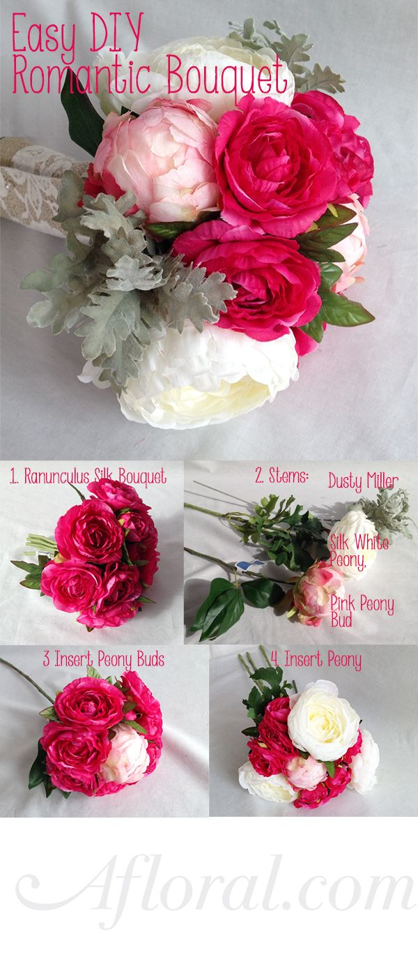 12 best beautiful silk flower arrangements images on pinterest easy diy romantic bouquet with ranunculus peony and dusty miller romanticbouquet fake flowersartificial dhlflorist Image collections