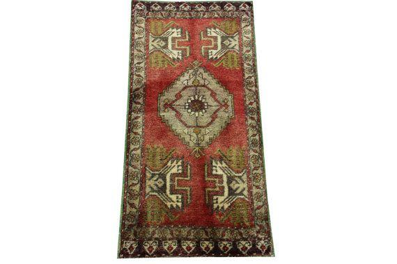 Doormats Turkish rugs handmade 3.6 x 1.6 Feet by stripepattern