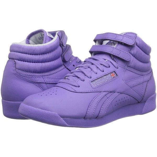 Reebok Freestyle Hi Spirit (Lush Orchid/White) Women's Classic Shoes ($53) ❤ liked on Polyvore featuring shoes, sneakers, purple, purple high tops, velcro strap sneakers, white high tops, reebok shoes and lace up sneakers