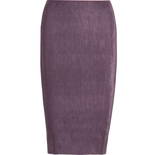 Barbara Casasola Metallic plissé-satin pencil skirt (24,655 INR) ❤ liked on Polyvore featuring skirts, grape, satin pencil skirt, purple midi skirt, satin skirt, pull on pencil skirt and mid calf pencil skirts