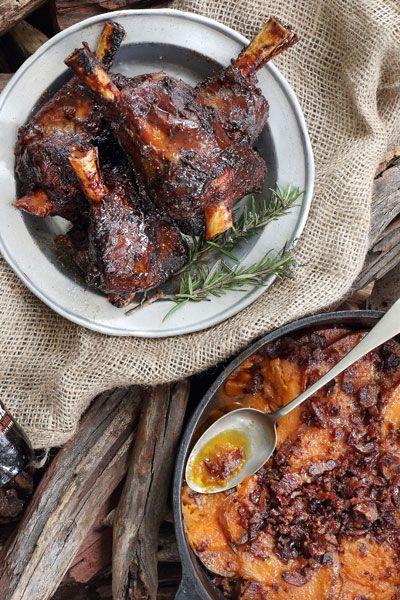 Amber Ale Sticky Lamb Shank & Bacon Sweet Potatoes | Crush 44