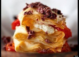 Mediterranean diet recipes: Mediterranean Diet Recipes, Chee Phyllo, Dinners Recipes, Dough Recipes, Crushes Olives, Goats Chee, Phyllo Stacking, Mediterranean Recipes, Cheese Phyllo