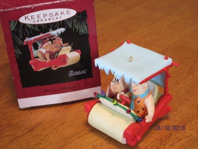 Hallmark 1994 Flintstones Fred and Barney Christmas Ornament w Box Flintmobile | eBay
