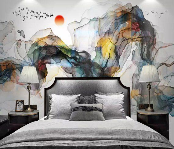 Abstract Art Wallpaper Sunset And Birds Art Wall Murals Watercolor Painting Texture Murals For Living Room B Abstract Wallpaper Smoke Wallpaper Mural Wallpaper