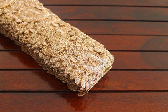 1 Yard Golden Fabric Trim Embroidered Trim by ArtsyCraftsyShoppe