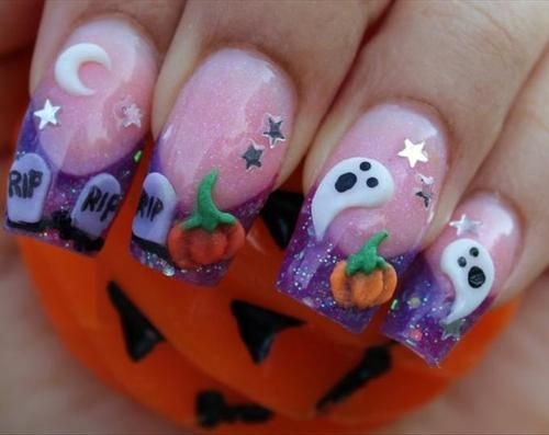 Halloween nails! Love it! So detailed!!! Looks more like a painting than a nail design!