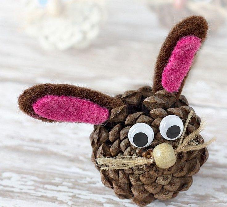bricolage enfants lapin en pomme de pin feutre et perle en bois