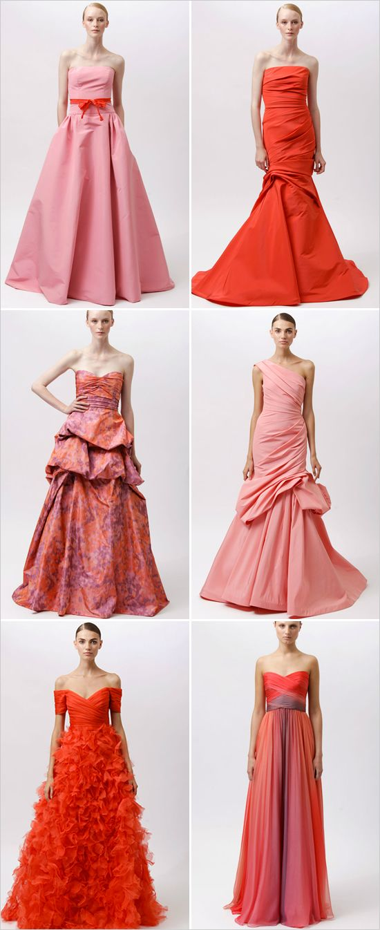 Love these colors/dresses!: Monique Lhuillier, Fabulous Dresses, 2012 Monique, Pink Wedding Dresses, Style, Bridesmaid Dresses, Gowns, Lhuillier Resorts, Beautiful Dresses