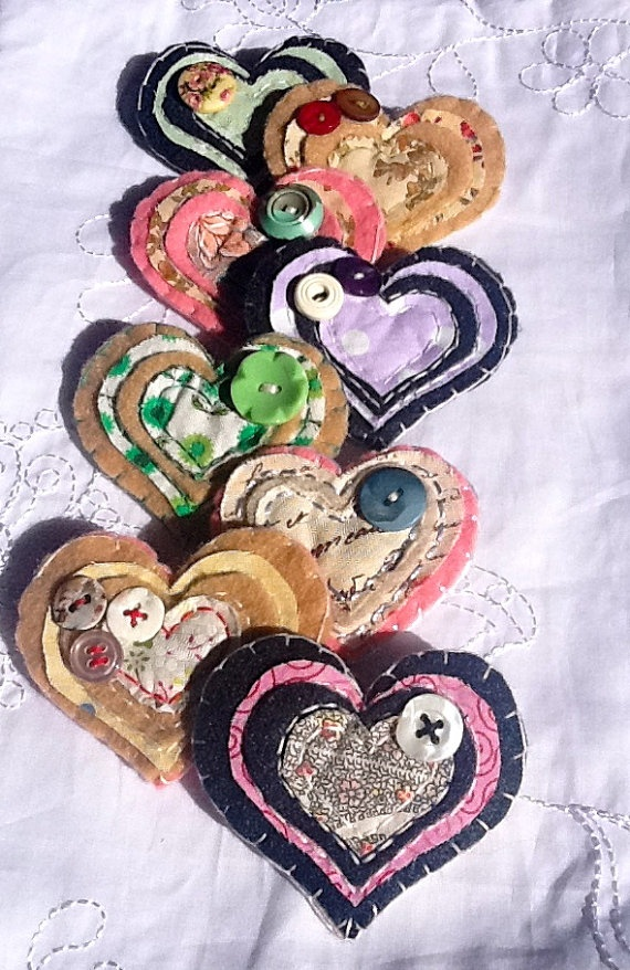 Unique handmade fabric heart brooches - all proceeds to Invest in ME charity (and biomedical research into Myalgic Encephalomyelitis).