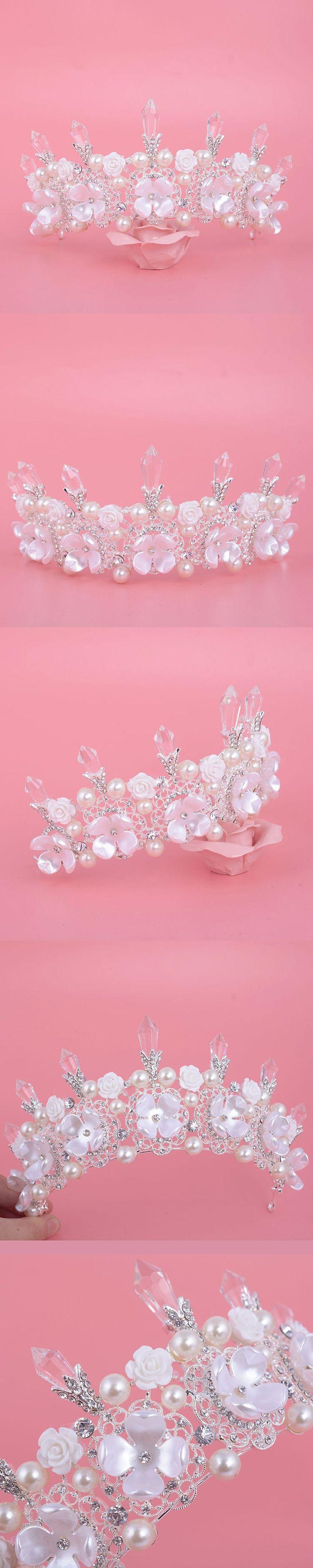 New Charm Women Crown Handmade Bridal Tiara Crystal pearl flower Design wedding Hair Accessories For brides Dress Hair jewelry $15.6