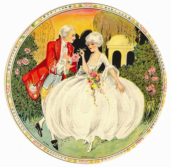 Very Colorful 1930s Hat Box Label18th Century by ARTDECOGRAPHICS, $9.99