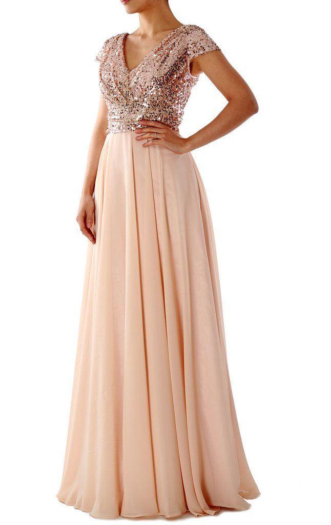 Cap Sleeves V Neck Sequin Chiffon Rose Gold Bridesmaid Dress 160150 – MACloth