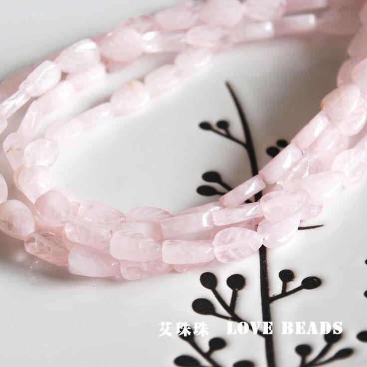 Природный розовый кварц лист 8 х 12 мм свободные бисера браслет ожерелье серьги делая выводы ювелирные изделия ремесла ручной работы материал  купить на AliExpress