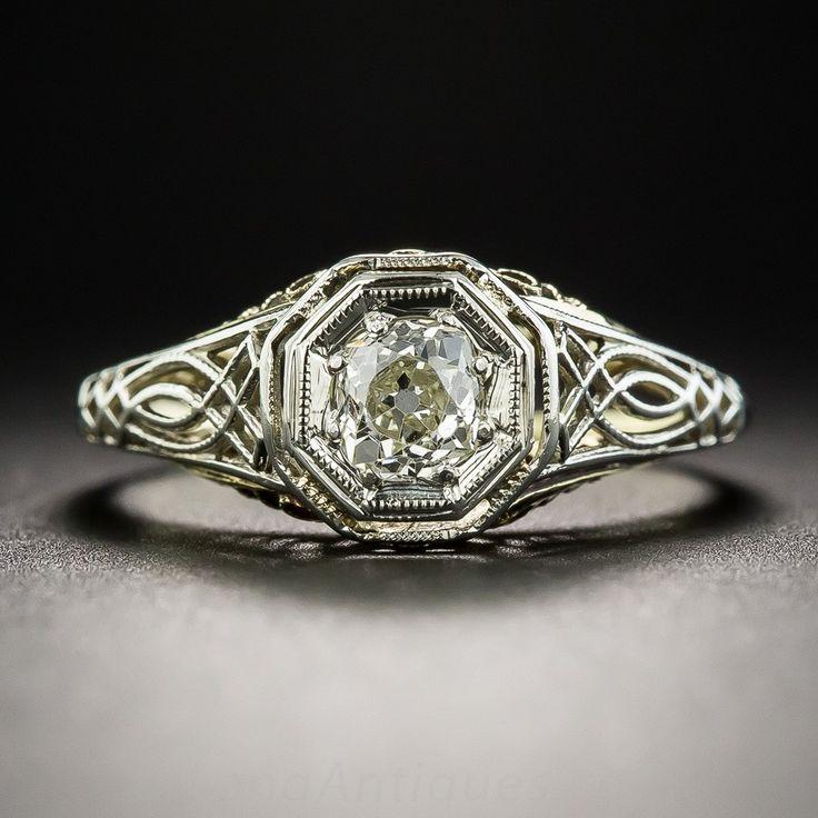 Art Deco .27 Carat Diamond Two-Tone Solitaire Engagement Ring - Antique & Vintage Diamond Rings - Vintage Jewelry