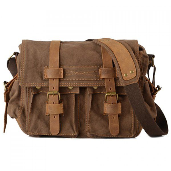 Retro Canvas and Belt Design Men's Messenger Bag