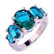 Nieuwe Mode Groene Sapphire Zilveren Ring Maat 6 7 8 9 10 11 12 13 Oval Cut Stone Sieraden Voor Vrouwen Party Groothandel Gratis Verzending(China (Mainland))