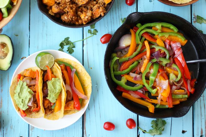 Spring Veggie Tacos with Avocado Creme by nutritionstripped #Taco #Veggie #Healthy