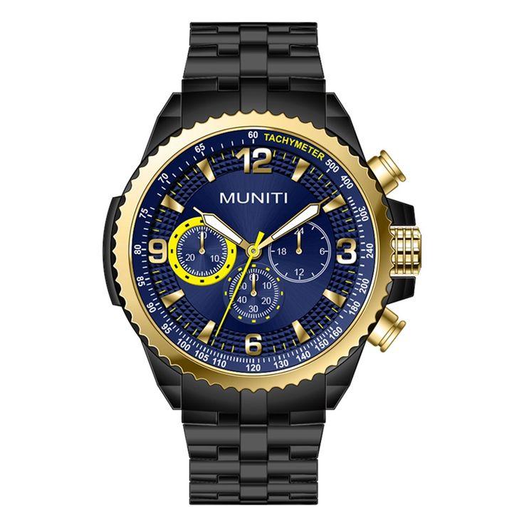 Cheap blue gold MUNITI Fashion Sport Men Watch Life Water-resistant Quartz Luminous Man Wristwatch Relogio Musculino Online Shopping | Tomtop