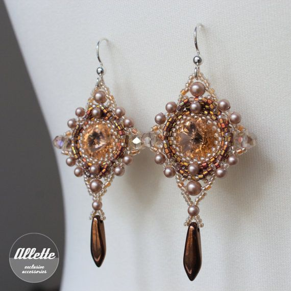 Swarovski bead woven earrings Beaujolais by AlletteAccessories