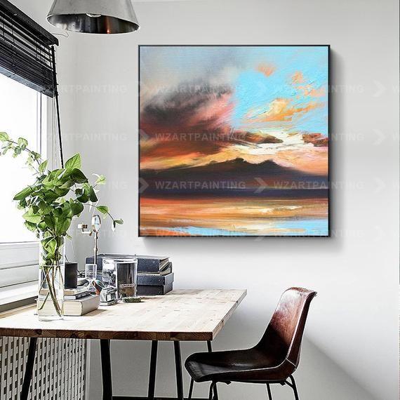 Framed Wall Art Blue Orange Sunset Glow Abstract Print Acrylic Etsy Canvas Prints Painting Prints Acrylic Prints