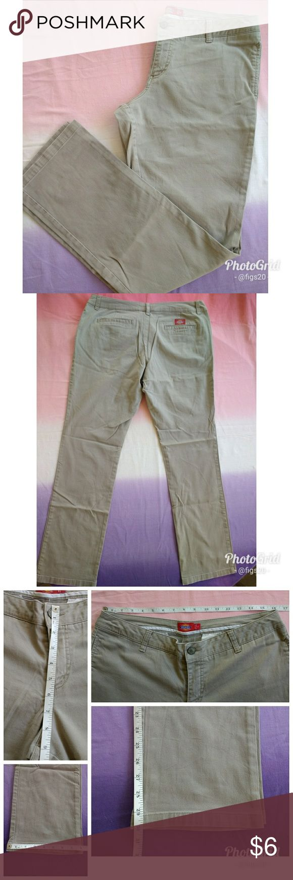 Dickies Uniform Pants These are a pair of Dickies khaki pants in juniors size 15. They are in good condition with no rips or tears but have some signs of wear. They will do the job for a good pair of work or other uniform pants. Keep in mind these are regular khakis, not the work wear version of Dickies. See measurements, and let me know if you have any questions! Dickies Pants Straight Leg